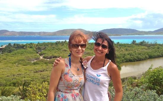Ирина Хлимоненко и Кристина Мянд-Лакьяни на острове Некер